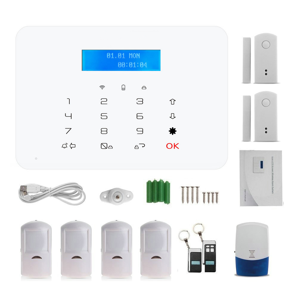 Wireless Touch panel keypad GSM SMS Alarm system 433MHz Bulit-in Battery Home security Alarm Motion PIR detector magnet 868mhz wireless gsm alarm system 7 inch touch screen home alarm with bulit in lithium battery with wireless outdoor solar siren