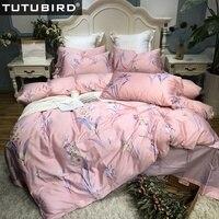 Pink blossom Egyptian bedding set floral flower print 100% cotton bedlinen sheets Satin duvet cover pastoral princess bedspread