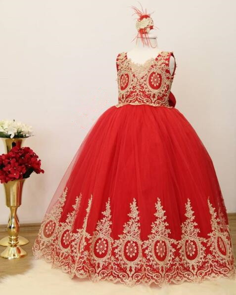 2018 new arrival Ball gown long Red girl birthday party dresses V-neck lace appliques toddler kids pageant gown with big bow2018 new arrival Ball gown long Red girl birthday party dresses V-neck lace appliques toddler kids pageant gown with big bow
