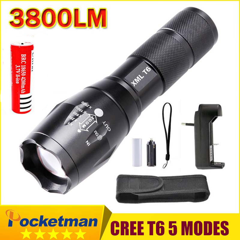 E17 XM-L T6 3800 Lumens Zoomable LED Flashlight Torch light + 18650 Rechargeable Battery + charger + holster zk10 cree xm l t6 bicycle light 6000lumens bike light 7modes torch zoomable led flashlight 18650 battery charger bicycle clip