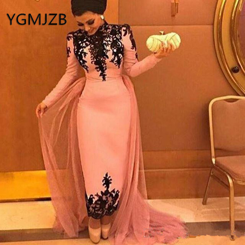 Robe De Soiree 2019 Elegant Muslim   Evening     Dresses   Sheath Long Sleeves Appliques Lace Saudi Arabic Women Formal Prom Party   Dress