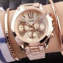 2017 Nueva Marca de Relojes de Lujo de Las Mujeres de Moda Casual de Tres ojos de seis pines Relojes de Cuarzo Calendario Banda de Acero Impermeable de los Relojes de pulsera