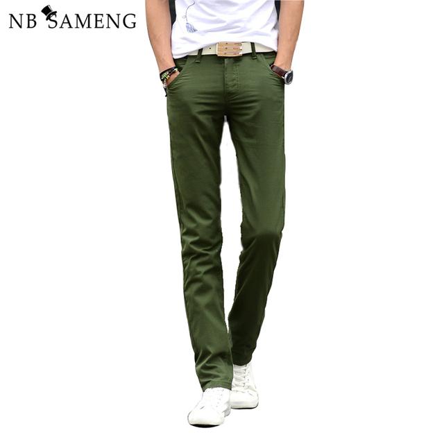Envío Gratis 2016 Nueva Llegada de Los Hombres Slim Fit Pantalones Casuales Pantalones de Algodón Pantalones Para Hombre de la Moda Pantalones Rectos Flacos 13M0572