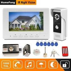 Homefong Video intercomunicador 7 pulgadas con cable Video puerta teléfono 1000TVL IR timbre cámara con cerradura eléctrica para el intercomunicador de la puerta del hogar sistema de