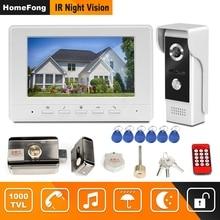 Homefong wideo domofon 7 cal przewodowy telefon drzwi wideo 1000TVL IR dzwonek aparatu z zamka elektrycznego dla domu drzwi domofon system
