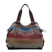 Женская вместительная сумка, Холщовая Сумка на плечо, Женская Повседневная многоцветная полосатая сумка для покупок, модная сумка-мессенджер, Bolsos Mujer