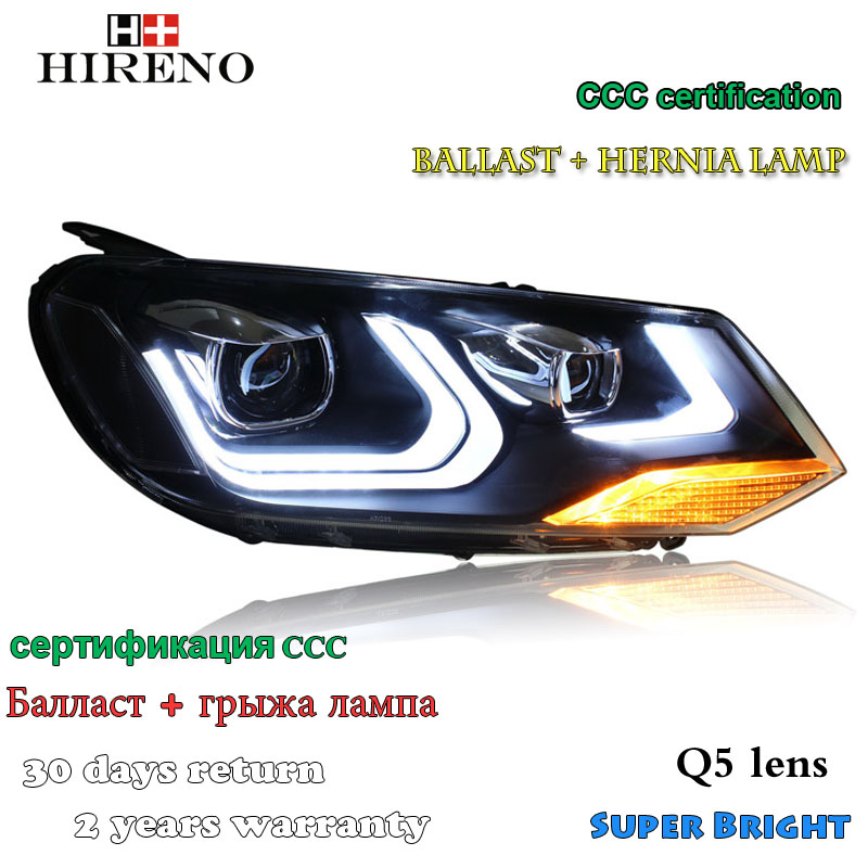 Hireno Headlamp for 2011-2013 Volkswagen Touareg Headlight Assembly LED DRL Angel Lens Double Beam HID Xenon 2pcs hireno headlamp for 2009 15 volkswagen scirocco headlight assembly led drl angel lens double beam hid xenon 2pcs