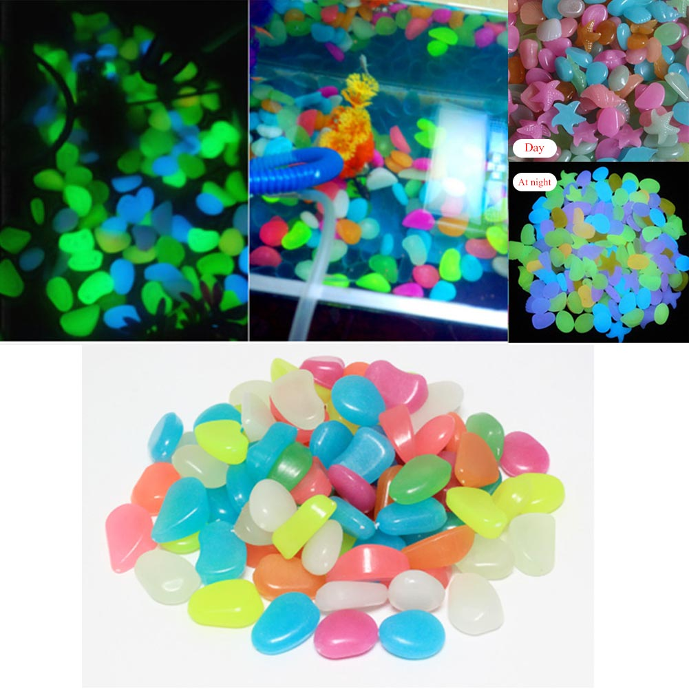 100Pcs/Set Home Decoration Luminous Pebbles Stones Glow In The Dark Garden Ornament For Walkway Fish Tank Crafts FG