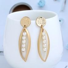 Bohopan Metal Leaves Dangle Earrings High Quality Imitation Pearls Drop Female Bohemia Style Earings Fashion Jewelry