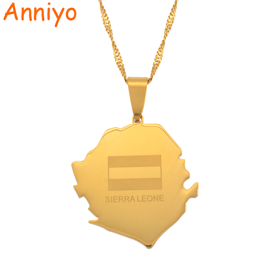 Anniyo Map of SIERRA LEONE With Flag Pendant Necklaces Jewellery Gold Color Necklace African #043321 refreshing stand collar solid color loose denim shirt dress for women