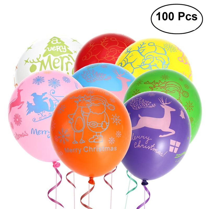 Home & Garden Event & Party Nice Nicexmas New 100pcs Merry Christmas Balloons Colourful Latex Balloons Wedding Birthday Decoration Party Balloon Toys