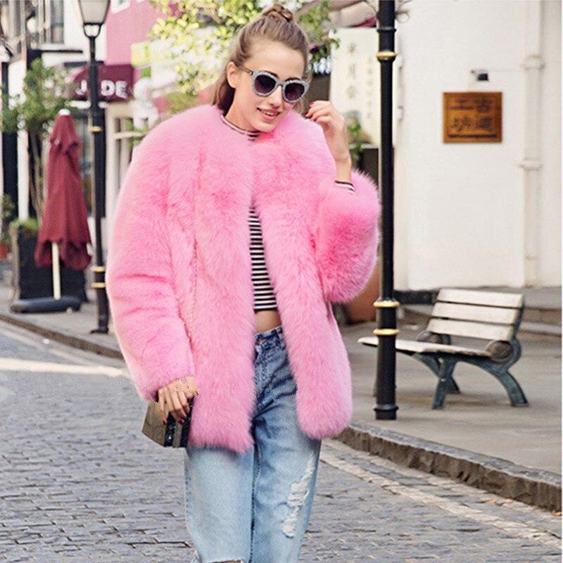 FURSARCAR nouveau manteau de fourrure véritable de luxe couleur vert jaunâtre et rose veste de fourrure de renard baleine manteau de fourrure naturelle mode fourrure d'hiver