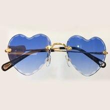 Marque de luxe Designer Coeur Lunettes de Soleil de Haute Qualité Sans Monture  lunettes de Soleil 421b8abb4ea5
