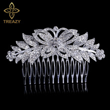 TREAZY Beautiful CZ Crystal Wedding Tiara Silver Plated Butterfly Leaf Flower Bridal Hair Combs Women Hair Jewelry Accessories
