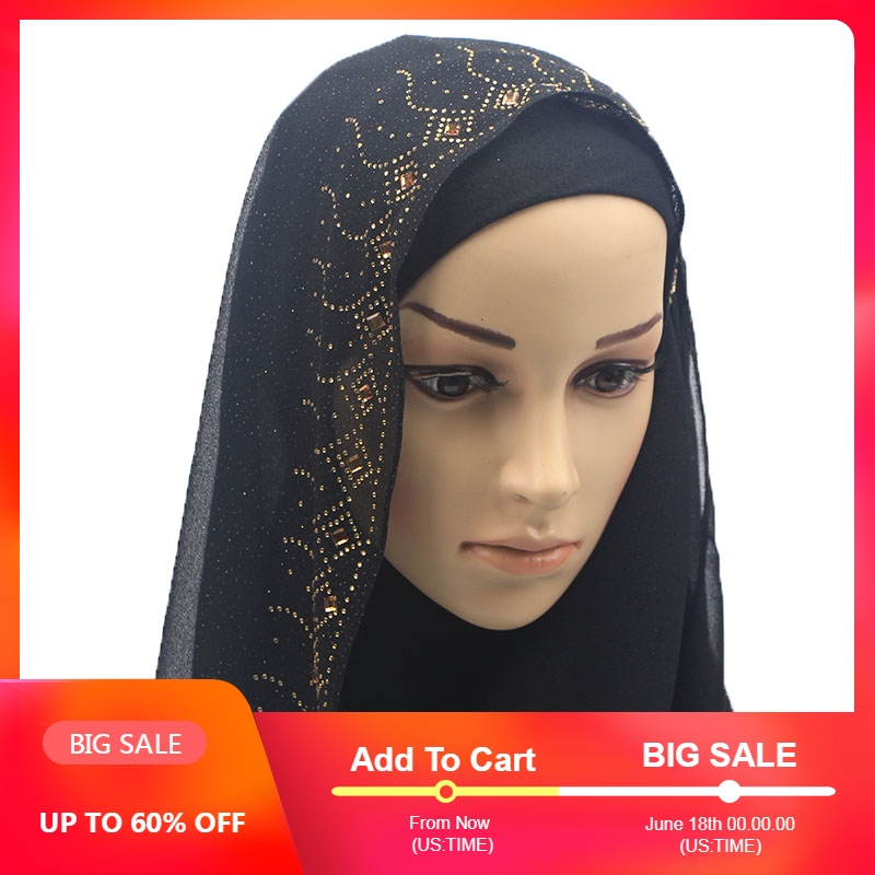 Shinny Crystal Muslim Hijab Printed Instant Shawls Jersey Chiffon Long   Scarf   Amira Slip On   Scarves     Wraps   Women Headband