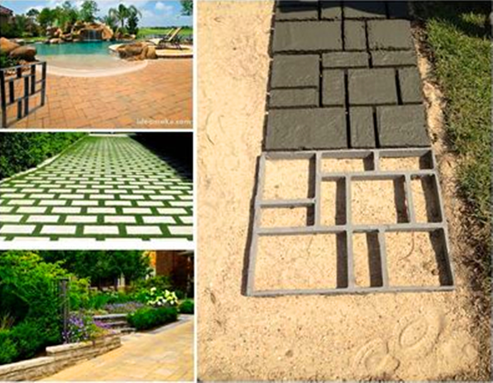 DIY Plastic Path Maker Mold Manually Cement Brick Molds Garden Walk Mould Make Driveway Paving Stepping Step Stone Square Mold