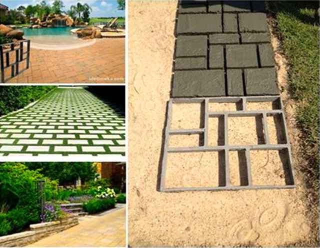 Diy Plastic Path Maker Mold Manually Cement Brick Molds Garden Walk Mould Make Driveway Paving Stepping Step Stone Square
