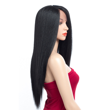 цена на Aigemei Lace Front Wig Long Straight Wigs Black Natural Soft Fiber Hair Heat Resistant Hand Tied Side Part Wigs 26 inch