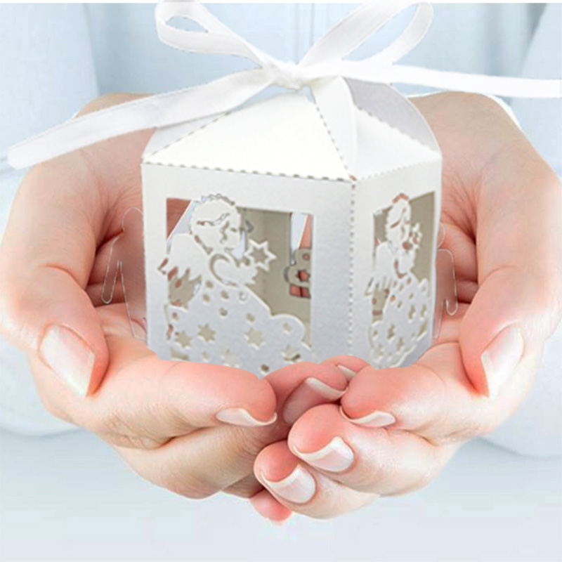 50pcs Baby Angel Design Candy Box Wedding Favors And Gifts, Birthday Party Decoration Baby Shower Souvenirs Gifts Box