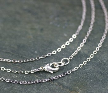 "Free shipping!!!! 100 pcs/lot 2*3mm silver plated flat chain necklace 32""L"