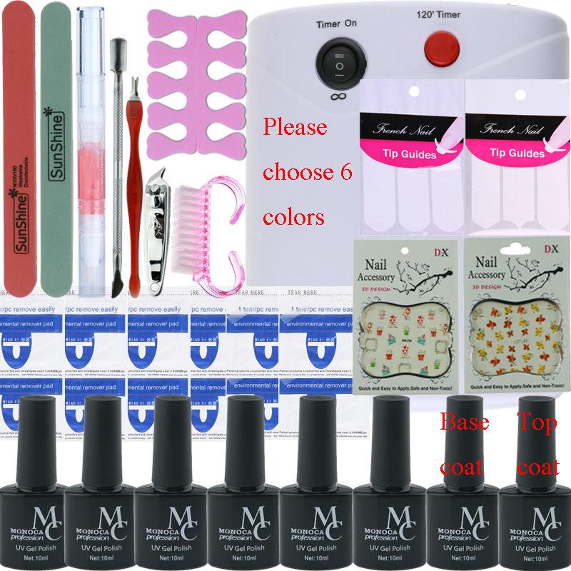 Nail art tools kit set nail polish 6 Color soak off Polish nail base top coat polish kit nail Manicure tools set