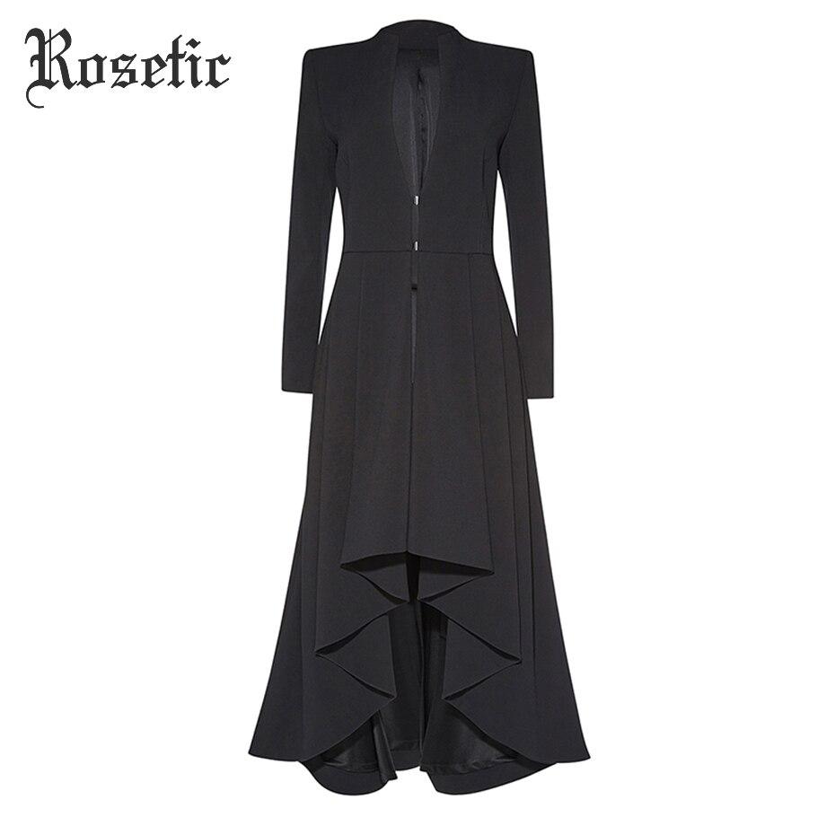 Rosetic Готический макси пальто Асимметричная черная Осенняя верхняя одежда для женщин тренчи для волна вырезать модные элегантные