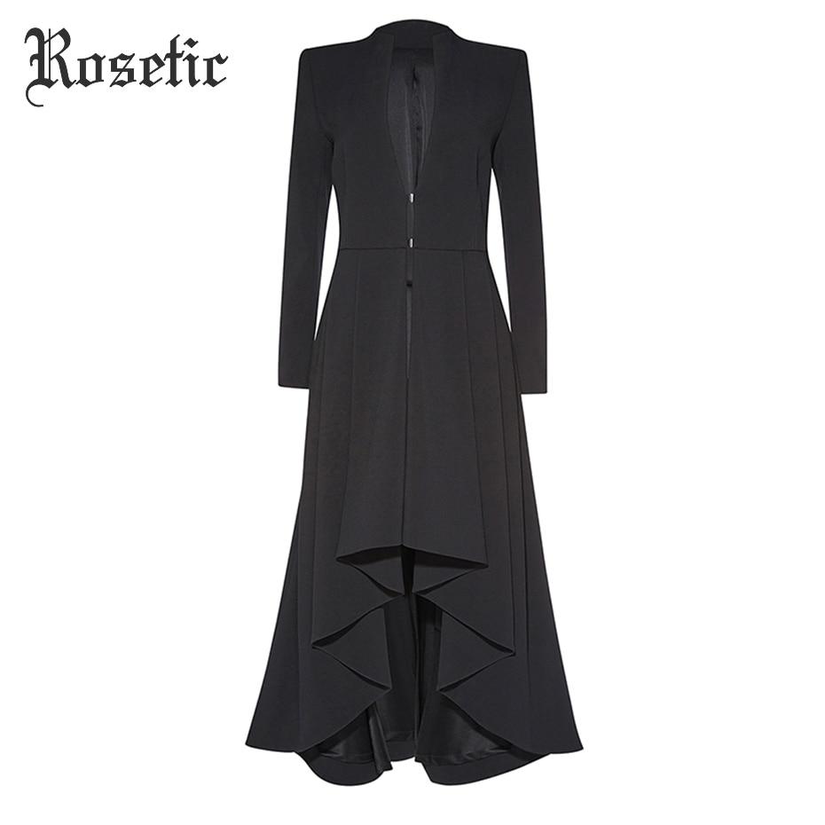 Rosetic Gothic Maxi Coat Asymmetric Black Autumn Outerwear Women Trench Wave Cut Overcoat Fashion Elegant Office Lady Goth Coats
