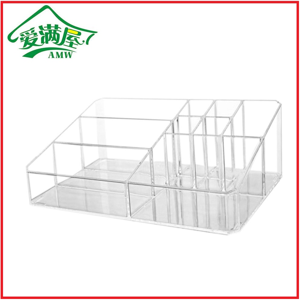 AMW Korean Fashion Multifunctional Acrylic Makeup Arrangement Storage Box Transparent Multi-Slots Desktop Cosmetic Organizer