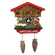 عالية الجودة اليدوية ثلاثية الأبعاد الراتنج ساعة الوقواق السفر تذكارية الإبداعية الثلاجة ملصقات المغناطيسي ديكور المنزل سويسرا
