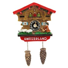 High Quality Handmade 3D Resin Cuckoo Clock Travel Souvenirs Creative Refrigerator Magnetic Stickers Home Decoration Switzerland