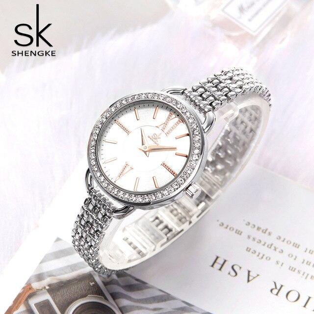 Shengke reloj de cuarzo para mujer, joyería, moda de lujo, japonesas negras, Mov, Rosegold, SK 2019