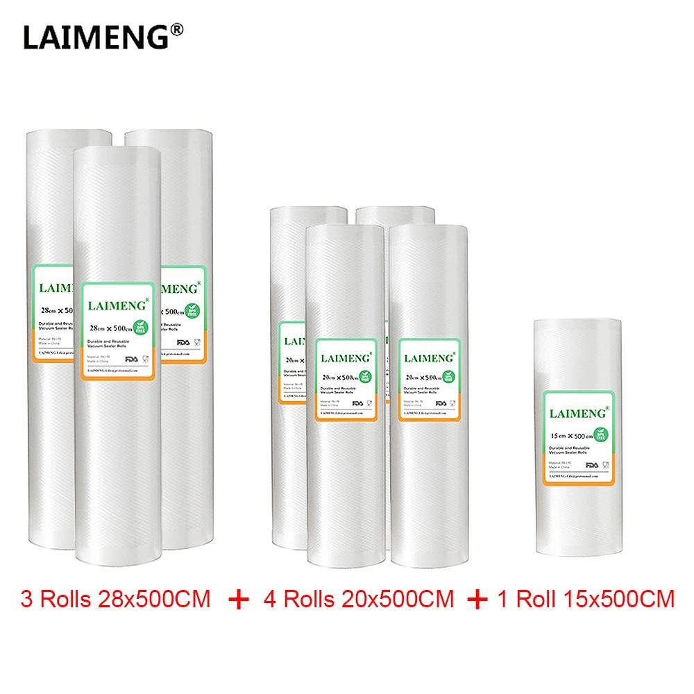 8 Rolls/lot Food Grade Vacuum Bags Food Vacuum Sealer Packing For Vacuum Packer Storage Bags Long Keeping 15+20+28cm*500cm R201