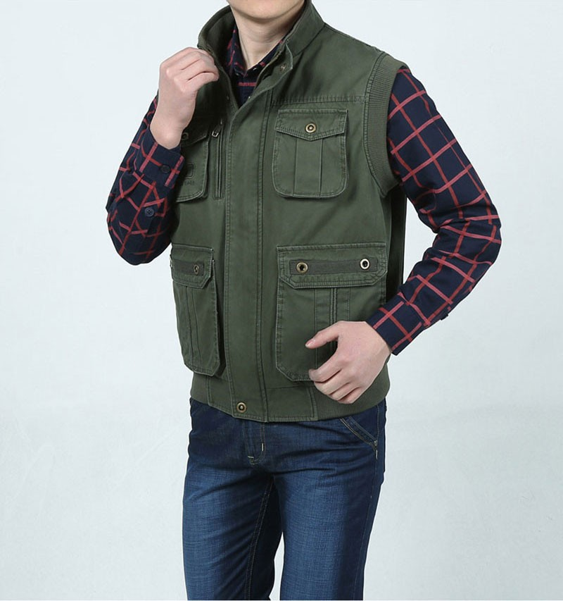L~7XL 2016 Autumn Spring Brand Clothing Cargo Outdoor Vest Overcoats Men Casual Cotton New Plus Size Sleeveless Jackets Vests (6)