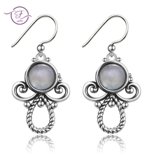 Original Design 7MM Round Natural Moonstone Womens Drop Earrings Solid 925 Sterling Silver Jewelry Birthday Party Gift For Girl