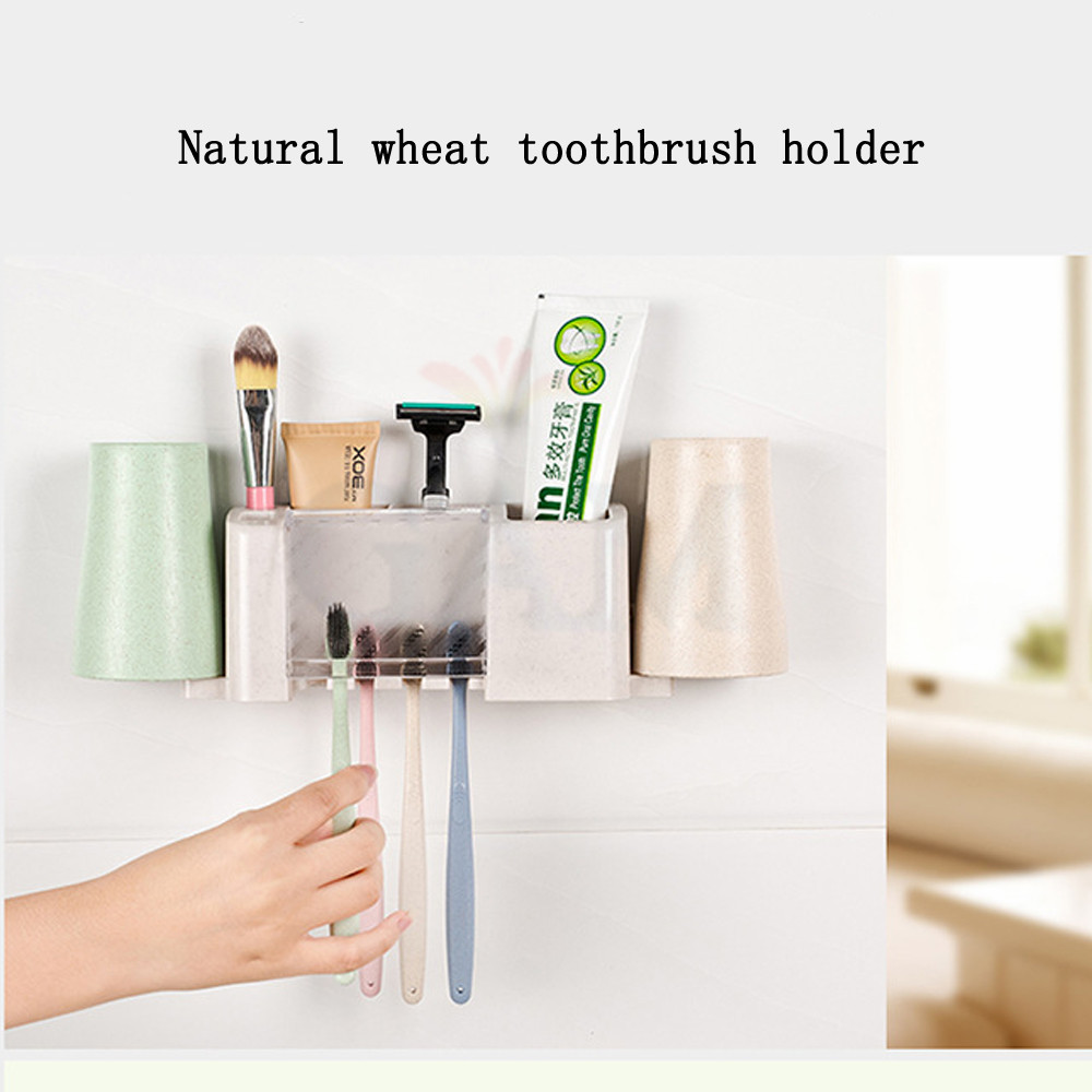 Bathroom product Dust proof Wheat Straw Toothbrush Holder with 2 ...