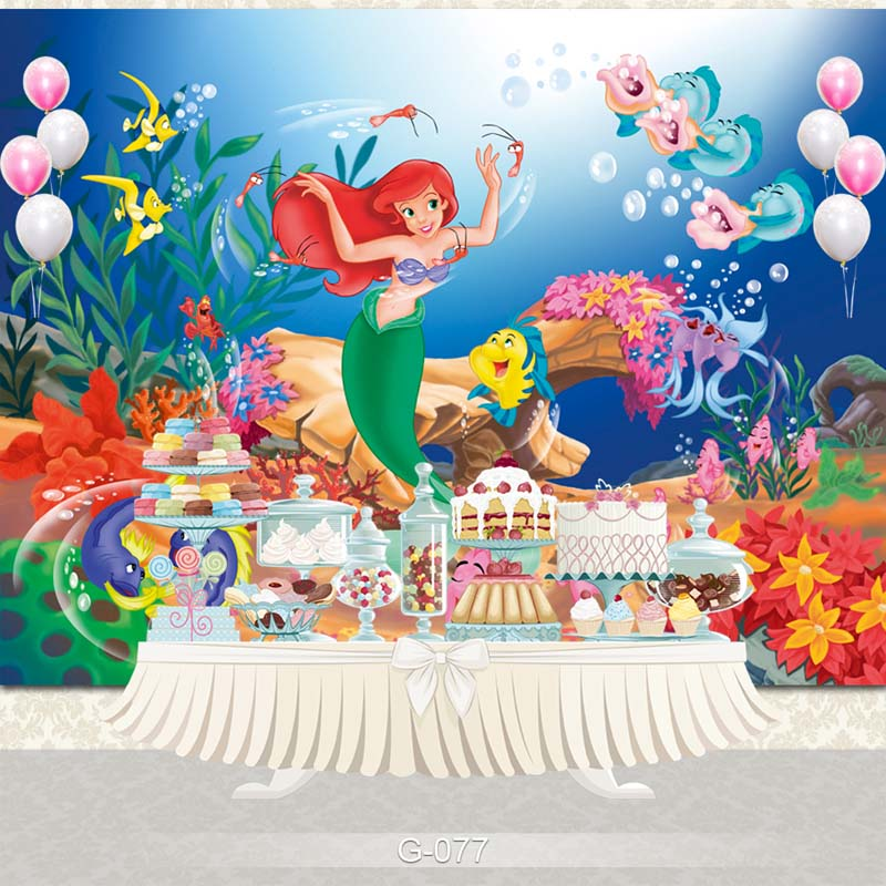 Birthday Party Vinyl Photography Background Cartoon Characters Little Mermaid Children Backdrops for Photo Studio G-077 retro background christmas photo props photography screen backdrops for children vinyl 7x5ft or 5x3ft christmas033