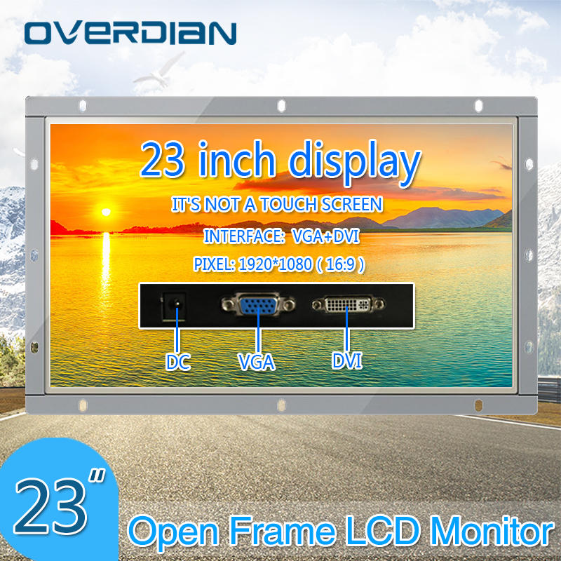 23Inch VGA/DVI Interface Industrial Monitor/Display 1920*1080 Metal Shell Non-Touch Screen Monitor For PC Open Frame