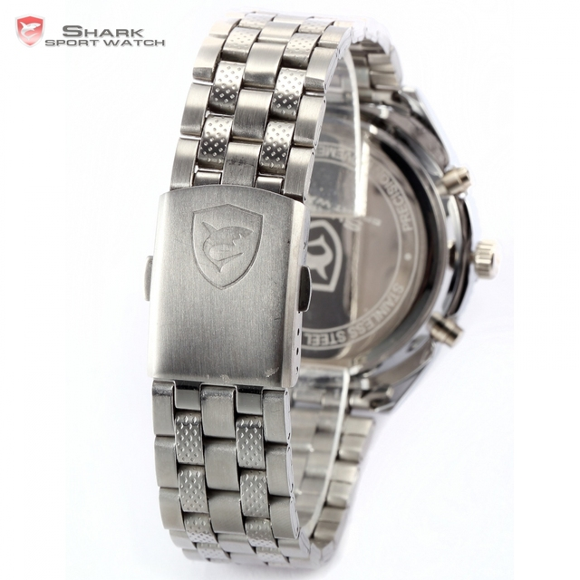 Luxury Leather Box SHARK Sport Watch Mens Watches Top Brand Dual Time Day Steel Band /SH109-112 5
