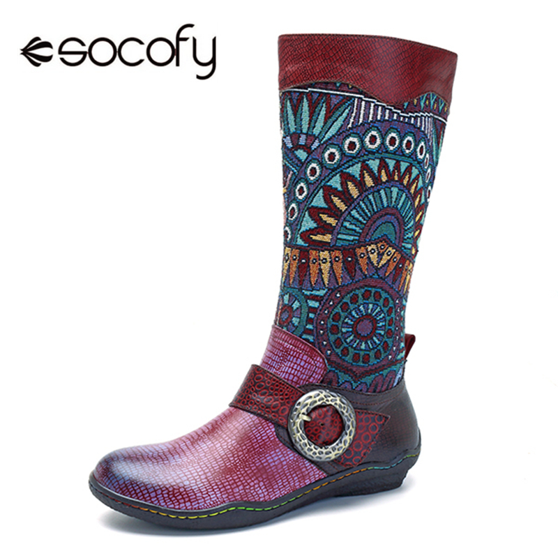Socofy Mid-Calf Boots Buckle Decor Women Shoes Motorcycle Snake-Pattern Bohemian Genuine-Leather