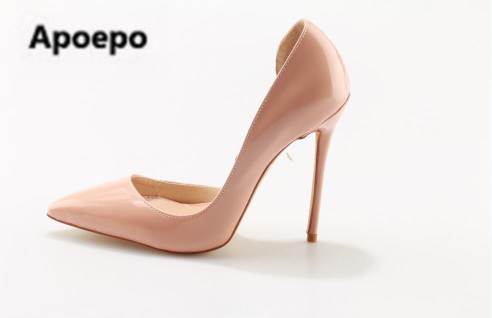 Apoepo Brand Nude Patent Leather High Heel Shoes Sexy Pointed toe Stiletto Heels Woman Dress Shoes 12 cm Bridal Shoes wedding apoepo women high heel pointed toe slip on sexy pumps 10 cm and 12 cm nude high heel wedding bride shoes concise style stilettos