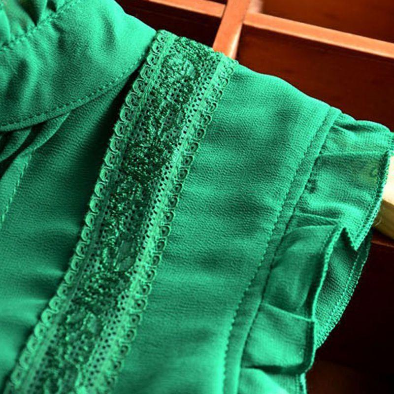 Verde Las Blusa Reffle blanco Mujeres Dama De Oficina Retro Colores Estilo Camisa 2 Verano Chiffon Casual EWw6qYIIc