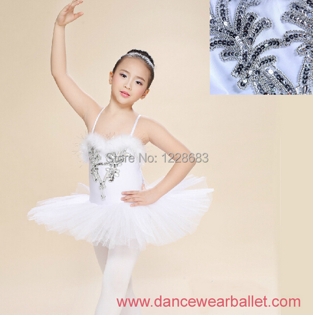New 2014 Kids Children Girls Sequin Feather Ssaia Vestido Menina Classic Ballet Tutu Swan Lake Ballet Costumes