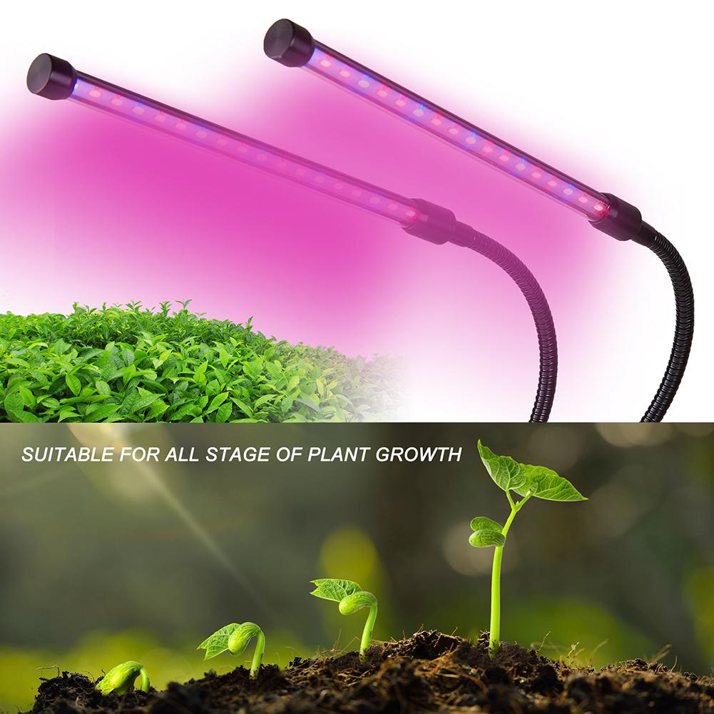 SOLLED Double Tube Plant Grow Light 360 Degree 40LED 20W  Grow Lamp For Indoor Hydroponic Vegetable Cultivation (USB Version)