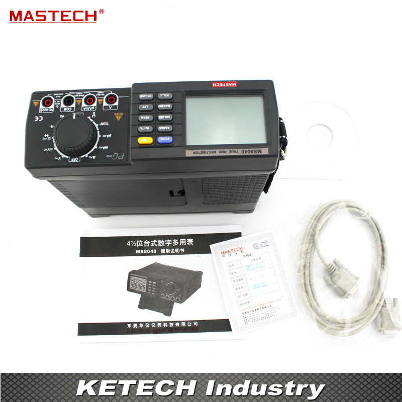 22000 Counts AC DC Voltage Current Auto range Bench multimeter True RMS Low-pass filtering With RS-232 Interface MASTECH MS8040 mastech ms8250c autoranging digital multimeter true rms low pass filtering 6600 d a display ncv usb data transmission