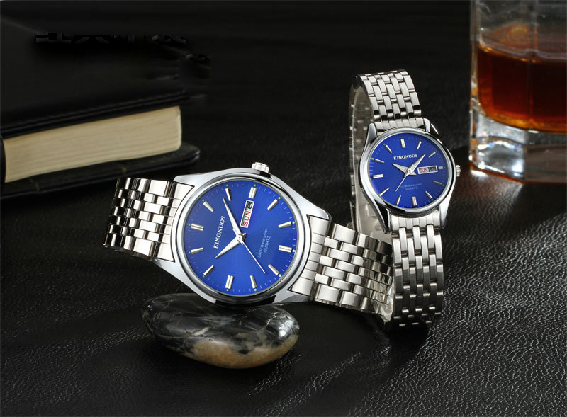 Kingnuos Brand New Design Business Man Watch Steel Waterproof Luminous Hour Date Week Clock Male Hodinky Quartz Men's Watch