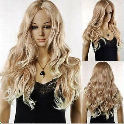 100% Picture full lace wig beautiful long lady's blonde mix hair wigs for womenAAA Hot heat resistant Party cosplays hair