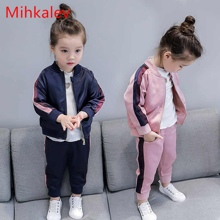 Mihkalev Cotton boys sport suits for girls autumn clothes set fashion jacket and pants 2pcs kids tracksuits children clothing 2017 new boys clothing set camouflage 3 9t boy sports suits kids clothes suit cotton boys tracksuit teenage costume long sleeve