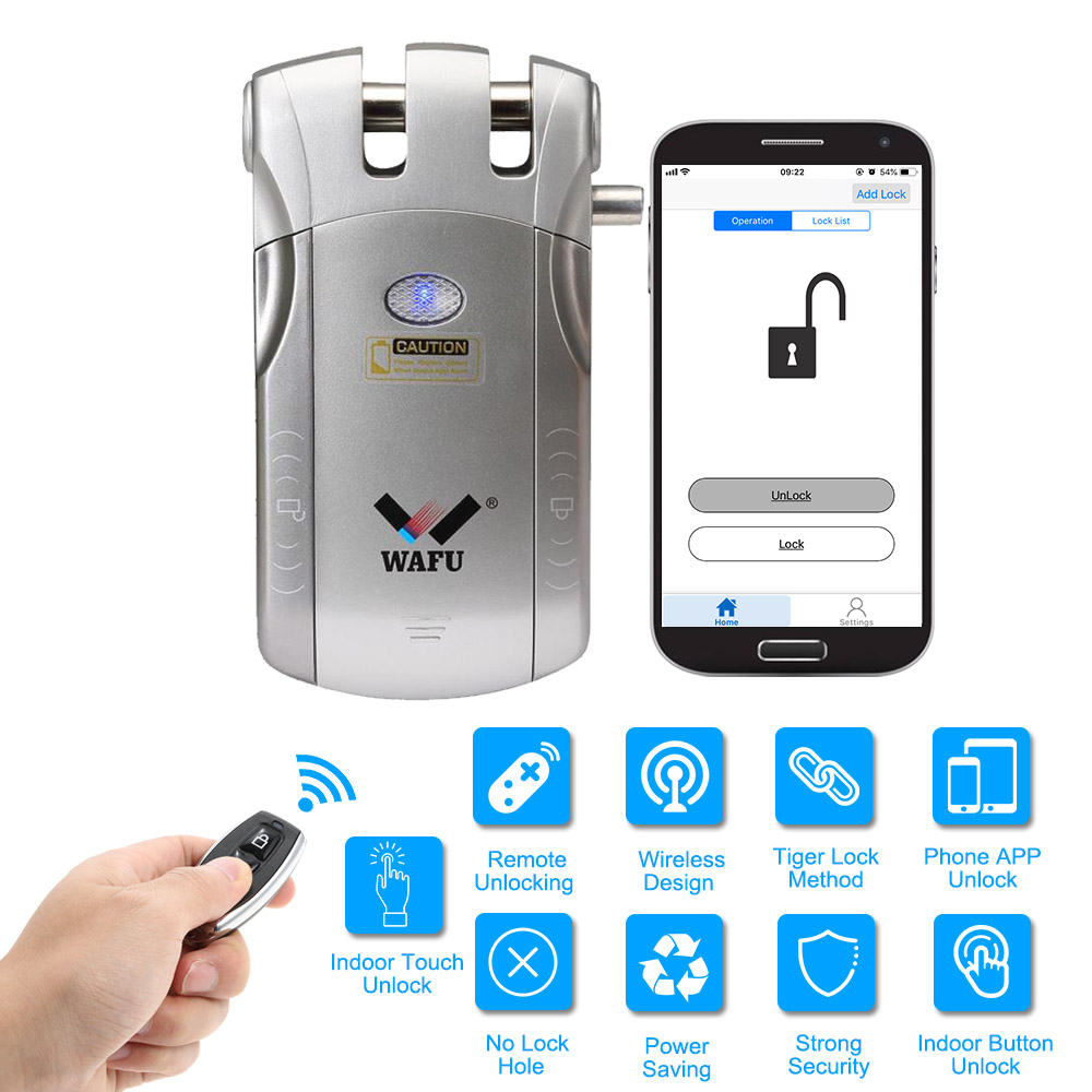 WAFU 010U Wireless Security Invisible Keyless Entry Door Intelligent Lock iOS Android APP Unlocking with 4