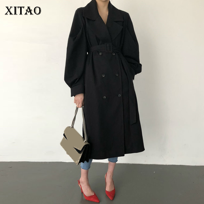 [XITAO] New Women 2018 Autumn Korea Fashion Double Breasted Turn-down Collar Full Sleeve   Trench   Female Solid Color Top ZLL1674