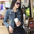 2017 Дамы женская мода короткие джинсовые куртки стиль заклепки отверстие пальто